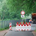 traffic sign, barrier, Falkensteiner Ufer