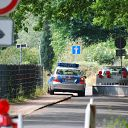 police car, barrier, fence, Falkensteiner Ufer