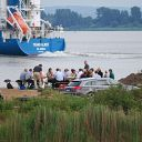 people, Elbe, container ship