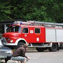 Falkensteiner Ufer, classic car, fire engine, kiosk, pollution of the environment
