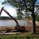 tree, excavator, water basin, sand