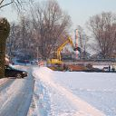snow, car, excavator, front loader, lighthouse, Falkensteiner Ufer