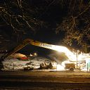 Elbe, ice, night, ship, excavator, fence, Falkensteiner Ufer
