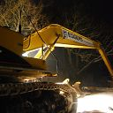snow, night, excavator, street lamp