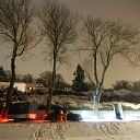 tree, snow, night, trailer, car, street lamp, Falkensteiner Ufer