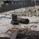 beach, Falkensteiner Ufer, bollard, scrap