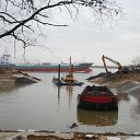 Elbe, tree, excavator, pontoon, barge