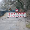 Falkensteiner Ufer, barrier, excavator, traffic sign, stone