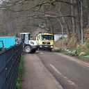 Falkensteiner Ufer, tree, fence, front loader, street sweeper