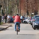 bicycle, Falkensteiner Ufer, car, lime, riding bicycle