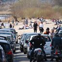 beach, Falkensteiner Ufer, car, motorcycle