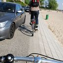 bicycle, beach, car, waste bin