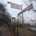 sign, Falkensteiner Ufer, water basin, traffic sign, fence, place-name sign