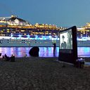 beach, night, cruise ship, ElbFilmKunst